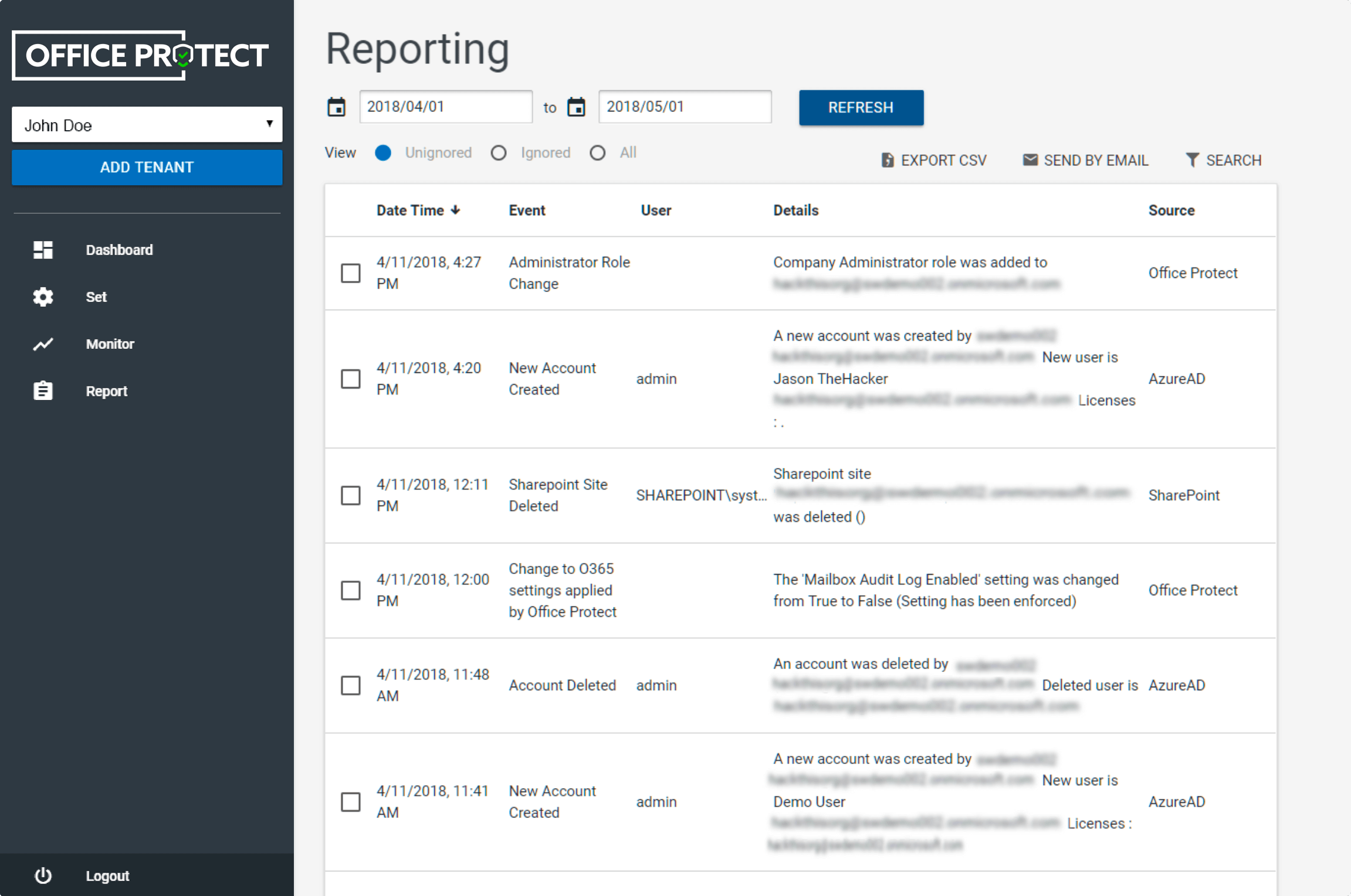 Office Protect: Reporting